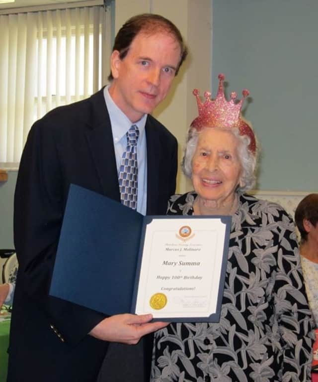 Mary Summa turned 100 Dec. 7 and received a proclamation from Joe Ryan, outreach coordinator the Dutchess County Office for the Aging.