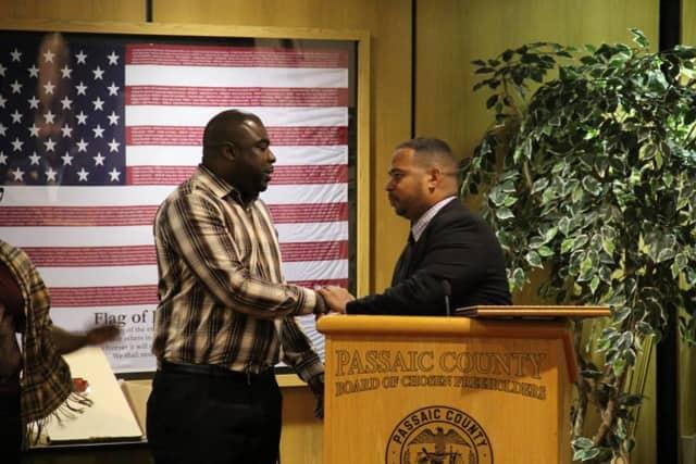 Deshon Brisbon accepts his Professional of the Year award.