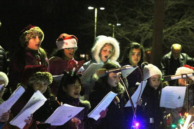 The Columbus Troubadors performing at the Tree Lighting.