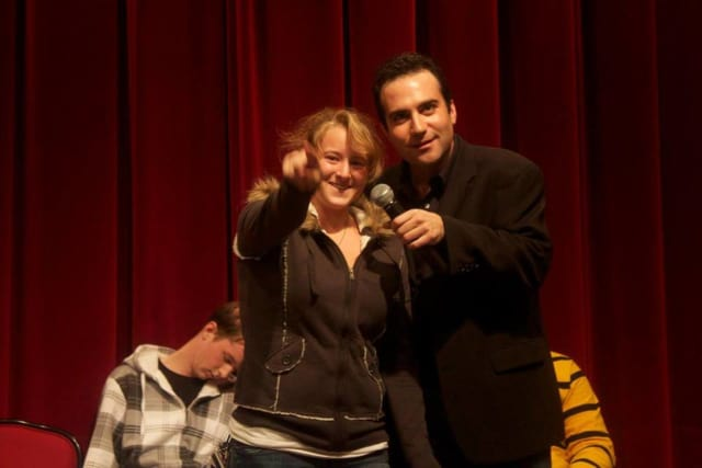Larry Greenberg, right, will lead a comedy hypnosis show Feb. 18 at Haledon School.