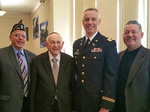 Left to right: Suffern Mayor-elect Edward Markunas; County Legislator Phil Soskin; Keynote Speaker Lt. Colonel (Ret.) James P. Kane, Judge Advocate, U.S. Army Reserve; County Legislator Doug Jobson.
