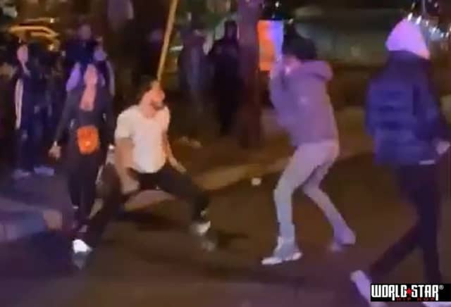 Screen shot from video of brawl that ignited shooting outside Teaneck nightclub.