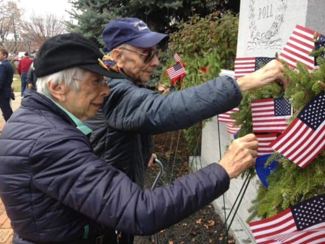 Shirley and Irving Bienstock participate in a past Fair Lawn's Wreaths Across America ceremony.