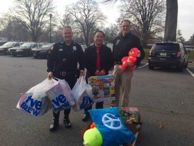 Mathansium donated toys to the Glen Rock Police Department's holiday collection.