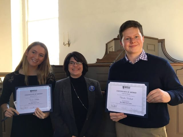 Bronxville High School students Charles Vorbach and Nicola Phillips earned top honors from the New York Civil Liberties Union.