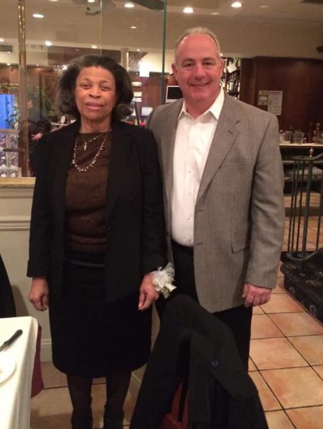 Saddle Brook Library Director Alma Henderson, at left, with Mayor Robert White.