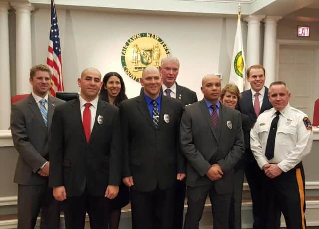 (L to R): Geovanny Buitron, Michael Van Ness, and Tiller Uriarte surrounded by the Fair Lawn Borough Council and Police Chief Glen Cauwels.