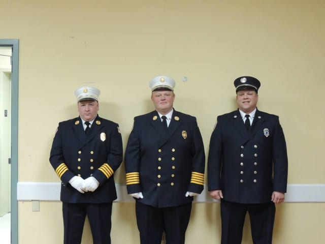From left to right: 1st Assistant Chief Colombo, Chief Mansfield, and 2nd Assistant Chief Pesavento.