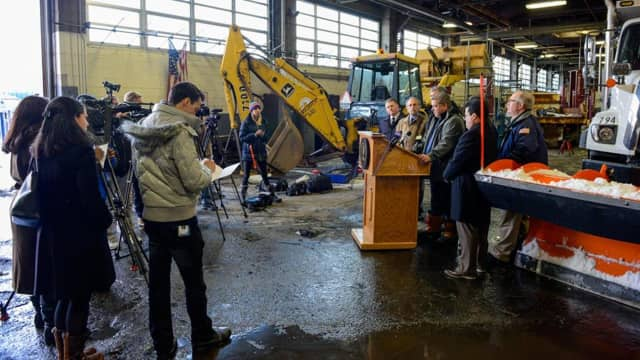Yonkers city officials held a press conference Monday to report on snow-clearing efforts.