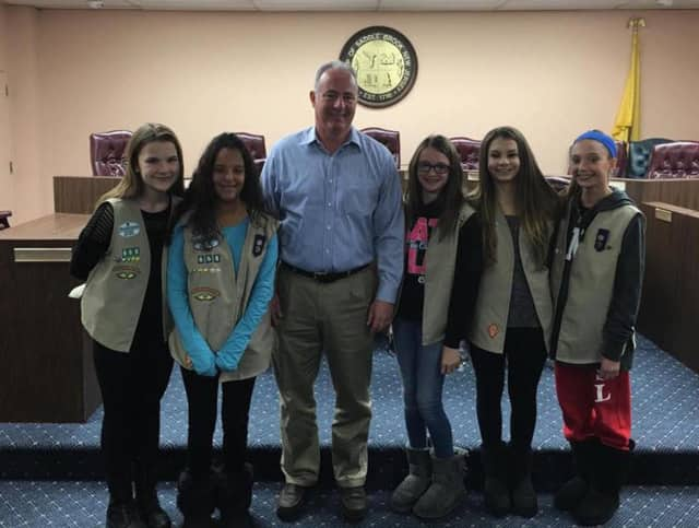 Saddle Brook Girl Scouts meet with Mayor Robert White.