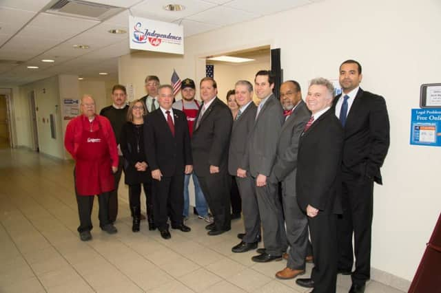 A number of county officials and business leaders attended the ribbon cutting ceremony at the Independence Cafe in the Rockland County Courthouse in New City.