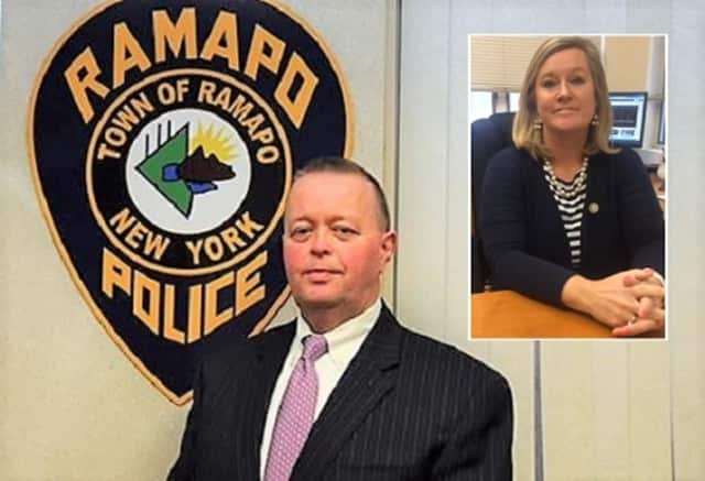 Ramapo Police Chief Brad Weidel, NYS PTA Executive Director Kyle Belokopitsky (inset)