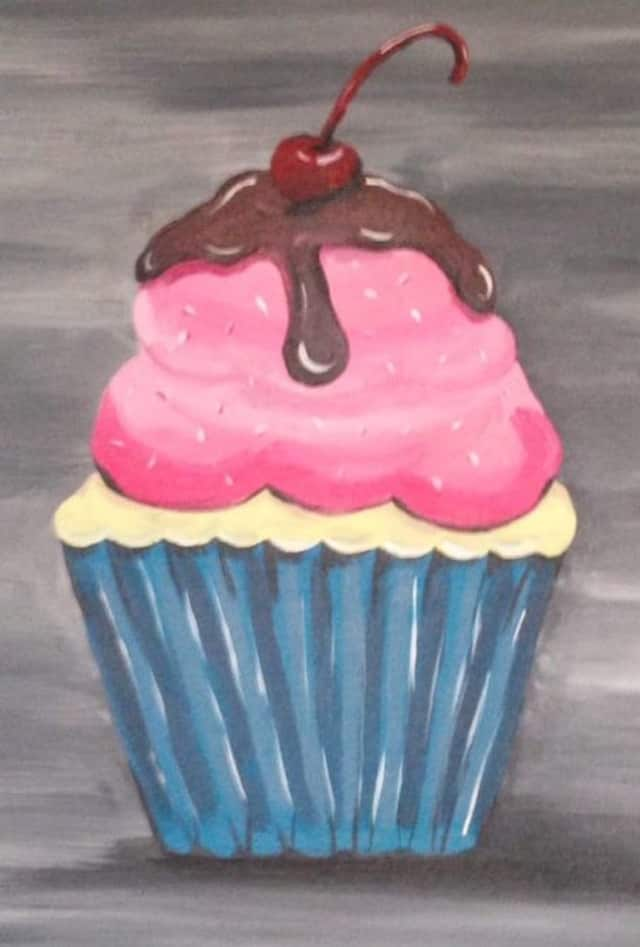 Participants can sip wine and enjoy chocolate while painting a cupcake at the Artists' Collective of Hyde Park on Thursday.