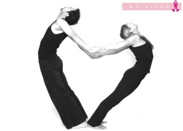 Practice postures with your partner on Valentine's Day in Glen Rock.