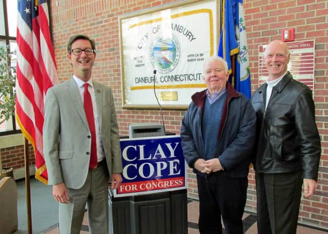 Sherman First Selectman Clay Cope makes it official Wednesday with an announcement in Danbury: He is running for Congress. Cope is joined by former First Selectman Art von Plachecki and Sherman RTC Vice Chairman Rick Hudson.