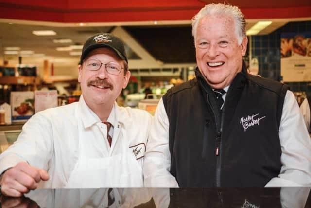 Frank Reihl, at left, at the Market Basket in Franklin Lakes.
