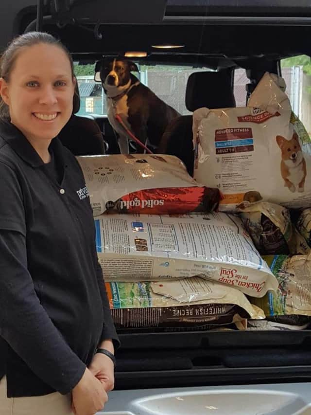 4 Paws Pet Pantry delivers food to rescue groups once a month.