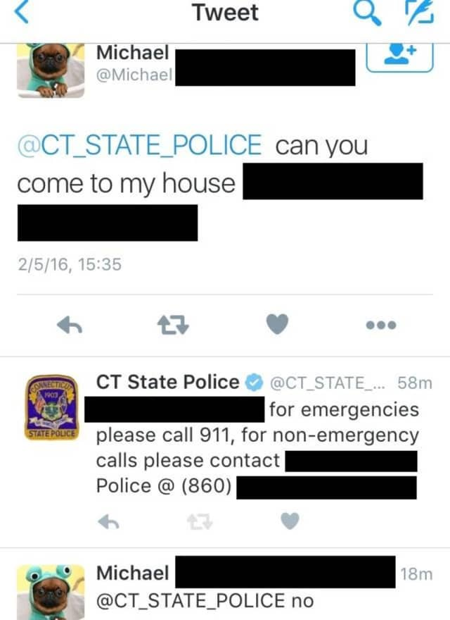 Connecticut State Police received an emergency tweet Feb. 5 when there was no emergency.