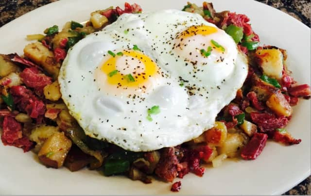 Eggs and corned beef hash from Gronsky's Milk House.