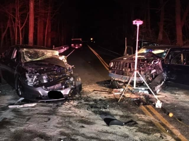 One person was killed and two others seriously injured in a three-vehicle crash in Easton.