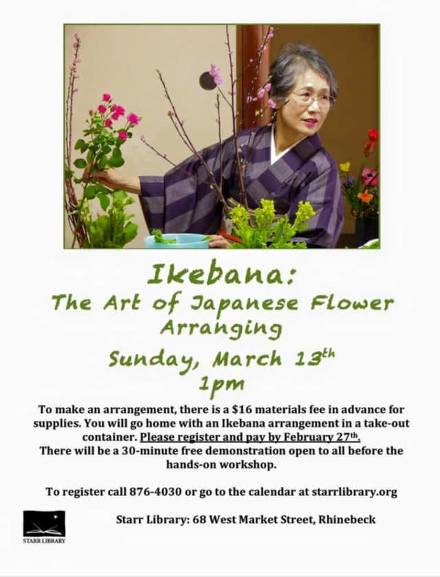 Learn the art of flower arranging at  Starr Library in Rhinebeck.