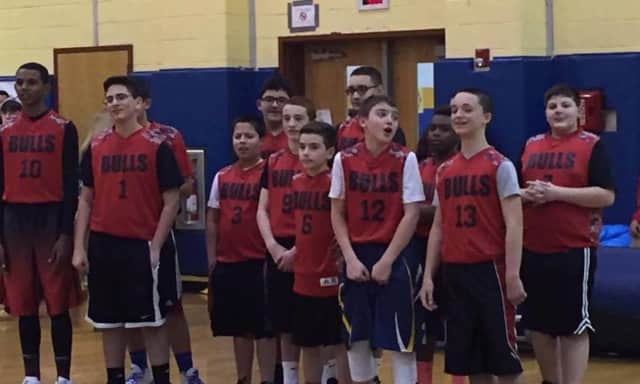 Kids attend basketball day in Saddle Brook.
