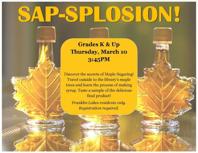 Franklin Lakes Library will host a maple syrup-making event March 10.