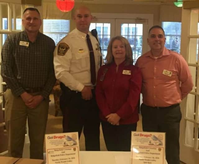 The drug take-back event was run by, from left, Ridgefield Crossings Program Director Kerry Cardinal, Ridgefield Police Department Captain Jeff Kreitz, Resident Care Director Elizabeth Sorensen and Executive Director Bill Crawford