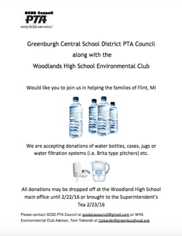 The Greenburgh Central School District PTA Council and the Woodlands High School Environmental Club are collecting water for the people of Flint, Mich.