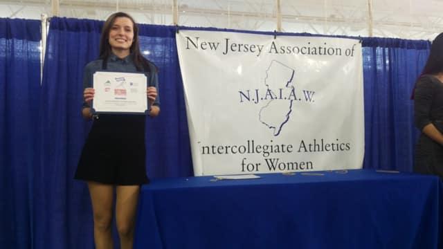 Pamela Duchnowski of Wallington High School poses with her award.