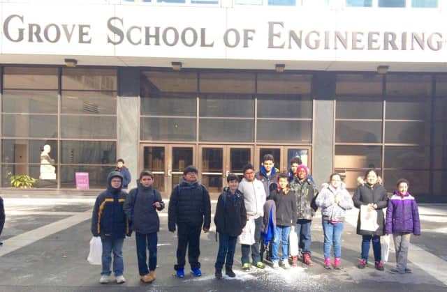 Isaac E. Young Middle School Robotics Club visits City College of New York.
