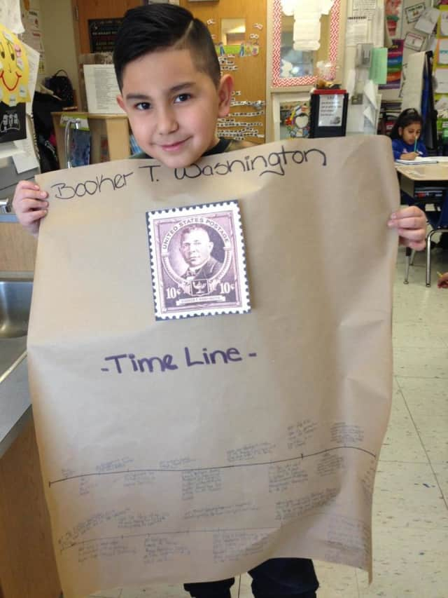 A student learns about Booker T. Washington.
