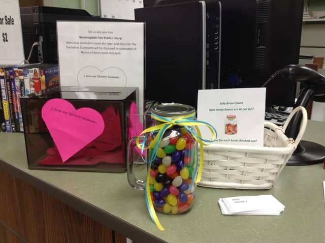 Guess how many jelly beans are in the jar at the Bloomingdale Free Public Library.