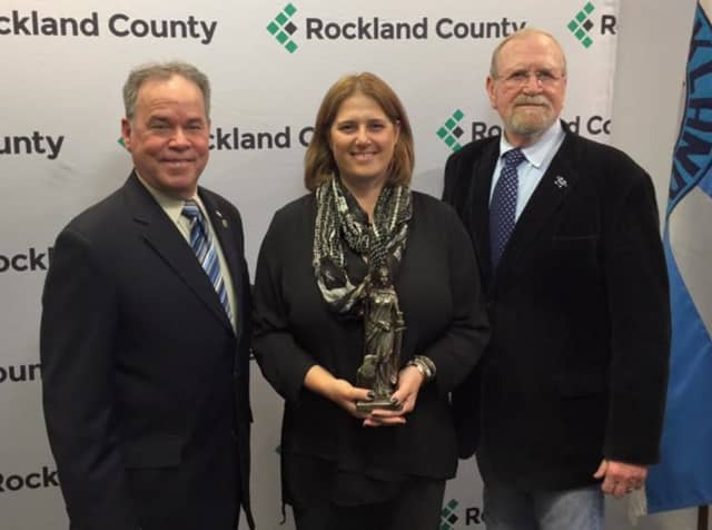 Rockland County Executive Ed Day and the County's Veterans Service Agency Director Jerry Donnellan presented Sgt. Elisabeth M. Gessel of New City with the 2016 Freedom Award.