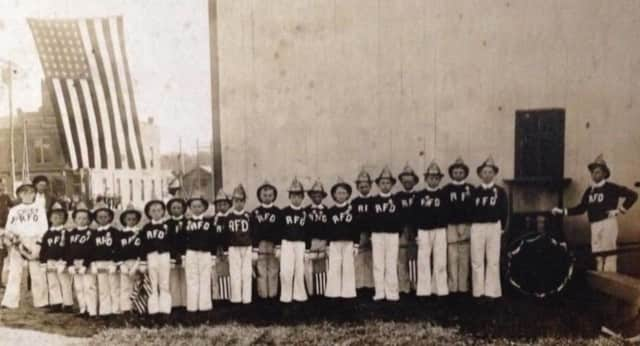 An Early photo of the Mahwah Volunteer Fire Department's junior program.