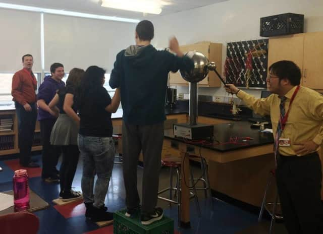 Westwood physics students experimented with a Van de Graaf generator recently.