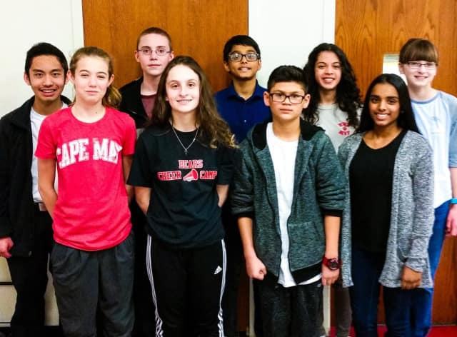 "February's ""Most Valuable People"" at Roy Brown Middle School: Kevin Belingon, Lea Thompson, Zakk Ward, Amanda Stanio, Powell Areeckal, Lucas Quinones, Kenia Berman, Angeline Joseph, and Kaitlyn Camerlengo:"