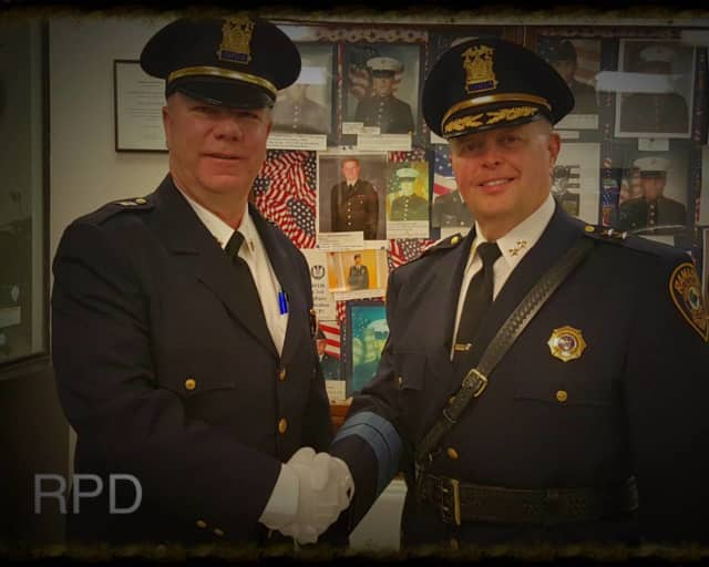 Lt. Martin Reilly, left, was recently promoted to the rank of captain by Ramapo Police Chief Brad Weidel.