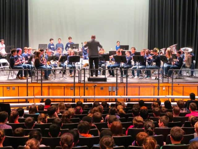 Briarcliff High School's band, orchestra and chorus perform for Todd Elementary School fifth-graders as part of Music in Our Schools last month.