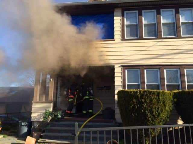 A fire at 2074/2076 Barnum Ave. displaced five people on Wednesday, April 6