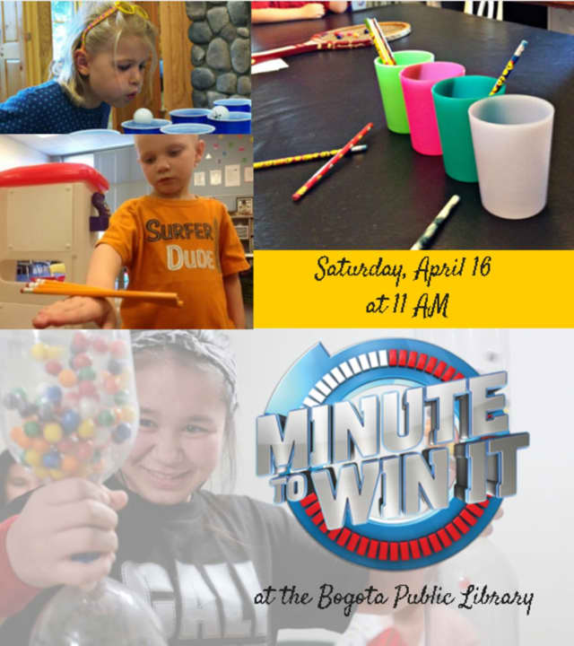 """The Bogota Public Library is hosting a """"Minute to Win It"""" competition."""