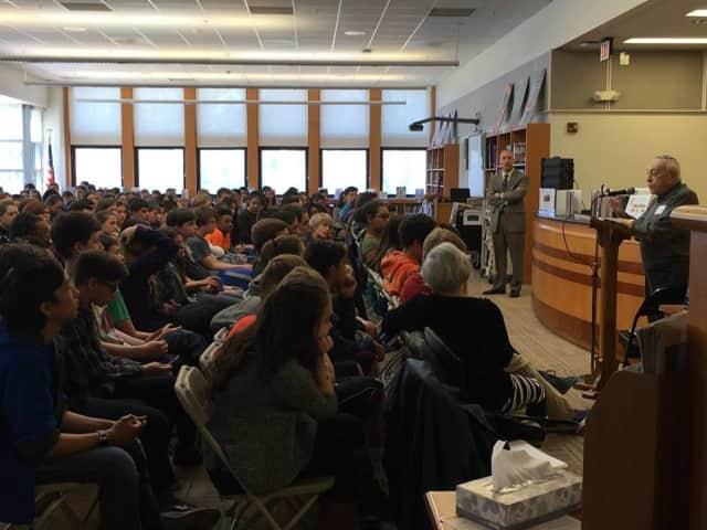 Dr. Moshe Avita, a Holocaust survivor, spoke to Pelham students Wednesday, April 13, about his experiences at six concentration camps during World War II.