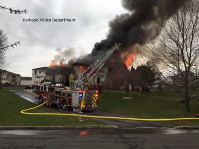 Ramapo Police responded to a house fire on Stark Court early Monday that left one resident injured.