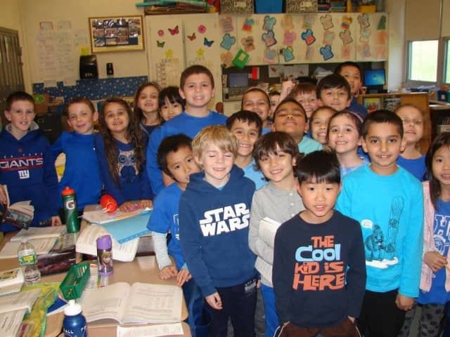 Students wear blue for Autism Awareness.