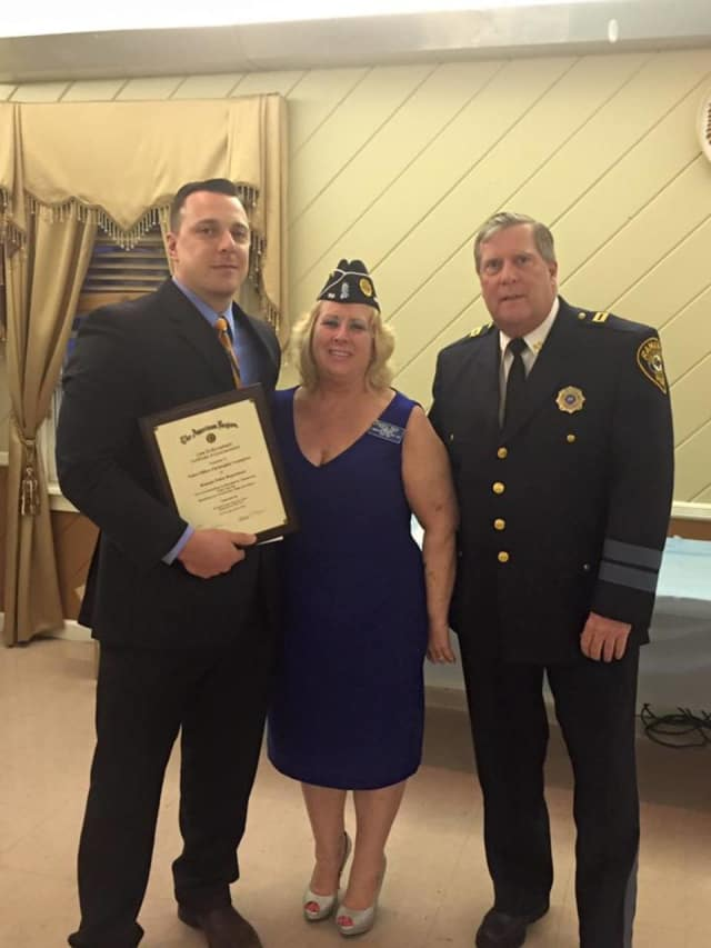Ramapo Police Officer Christopher Youngman, American Legion County Commander Maureen Morgan, and Capt. Thomas Cokeley, during a recent Rockland County American Legion Awards Ceremony.