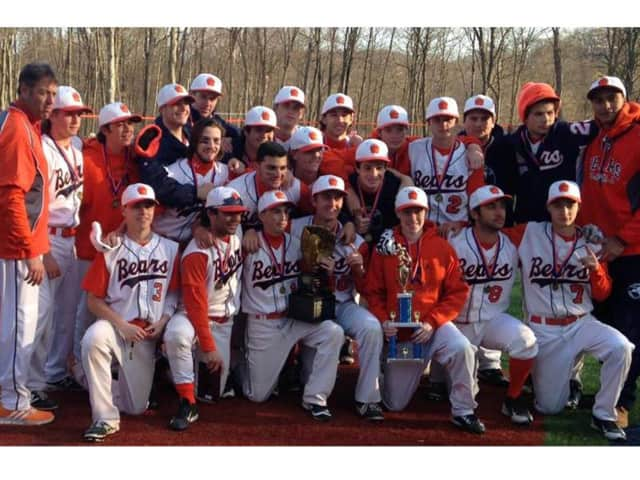 The Briarcliff High School baseball team with their first place trophy.