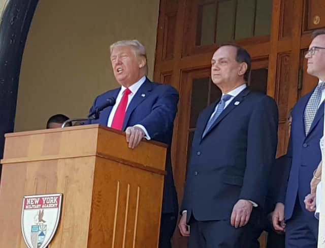 Donald Trump at a recent talk at New York Military Academy in Cornwall.