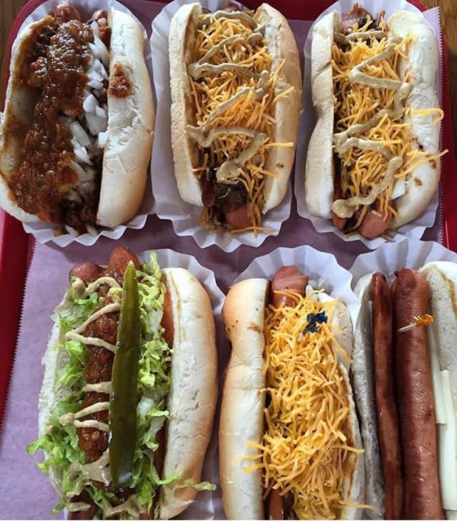 Hot dogs at Super Duper Weenie in Fairfield.