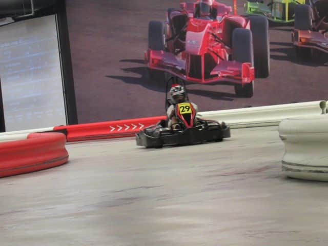 Up to 10 racers participate in each run at The Autobahn Indoor Speedway.