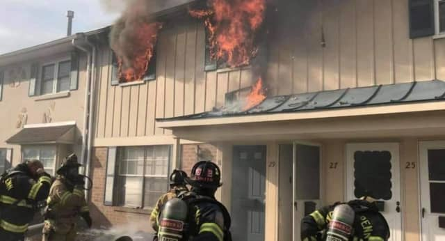 Upper Gwynedd Township Fire Department responding to the Kearny Drive fire Sunday, Dec. 13.